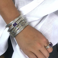 woven herringbone stacking cuff bracelets with amethyst gemstones