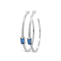 sterling silver braided hoop earrings with blue topaz baguette gemstones