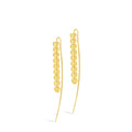 18k Gold Long Threader Linear Wire Drop Heart Earring | Sanguine Falling Heart Wire Drop Earring
