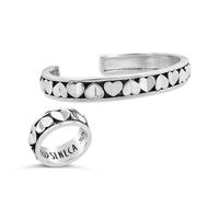 multi heart pattern narrow cuff bracelet and matching heart ring sterling silver