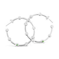 modern large sterling silver ball hoop statement earring