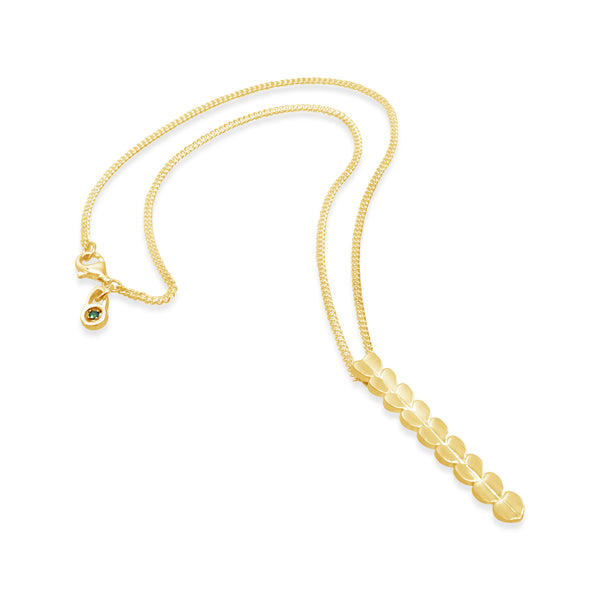 18k gold vertical heart bar necklace with thin chain