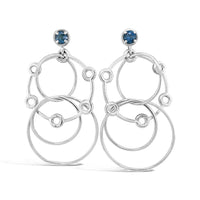 sterling silver wire hoop earrings with london blue topaz