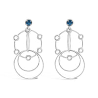 blue topaz wire hoop dangle drop earrings