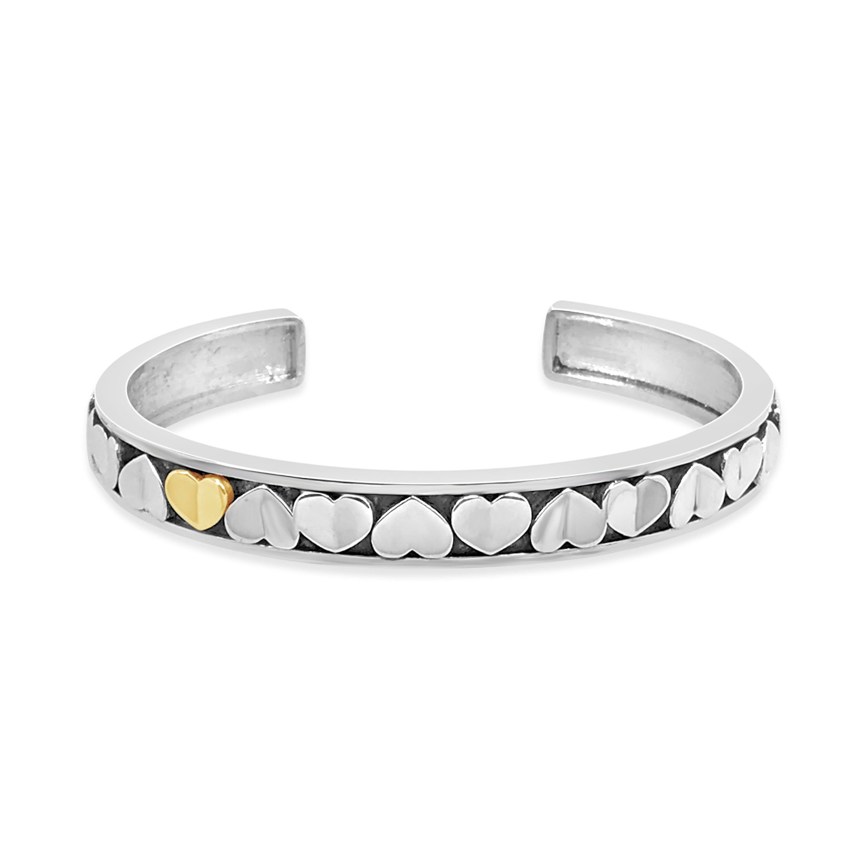 silver love heart love cuff bracelet with one 18k gold heart