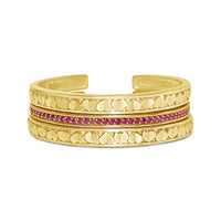 18k gold and ruby stackable love heart cuff bracelets