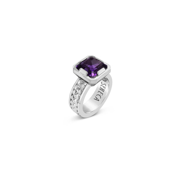 sterling silver herringbone ring with square cut amethyst stone