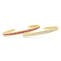 pair of pave ruby and pave diamond thin gold cuff bracelets