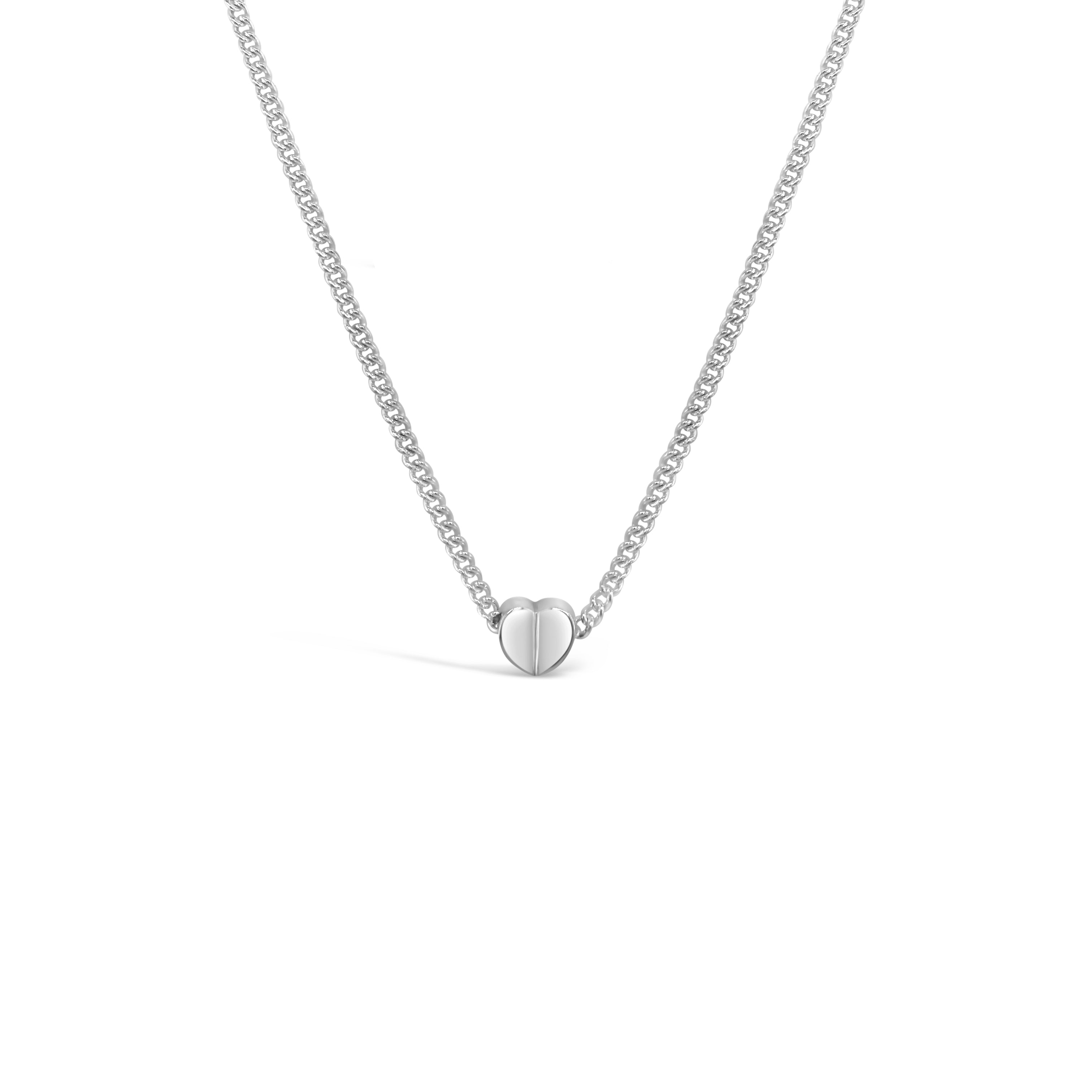 small heart slide pendant on thin chain sterling silver