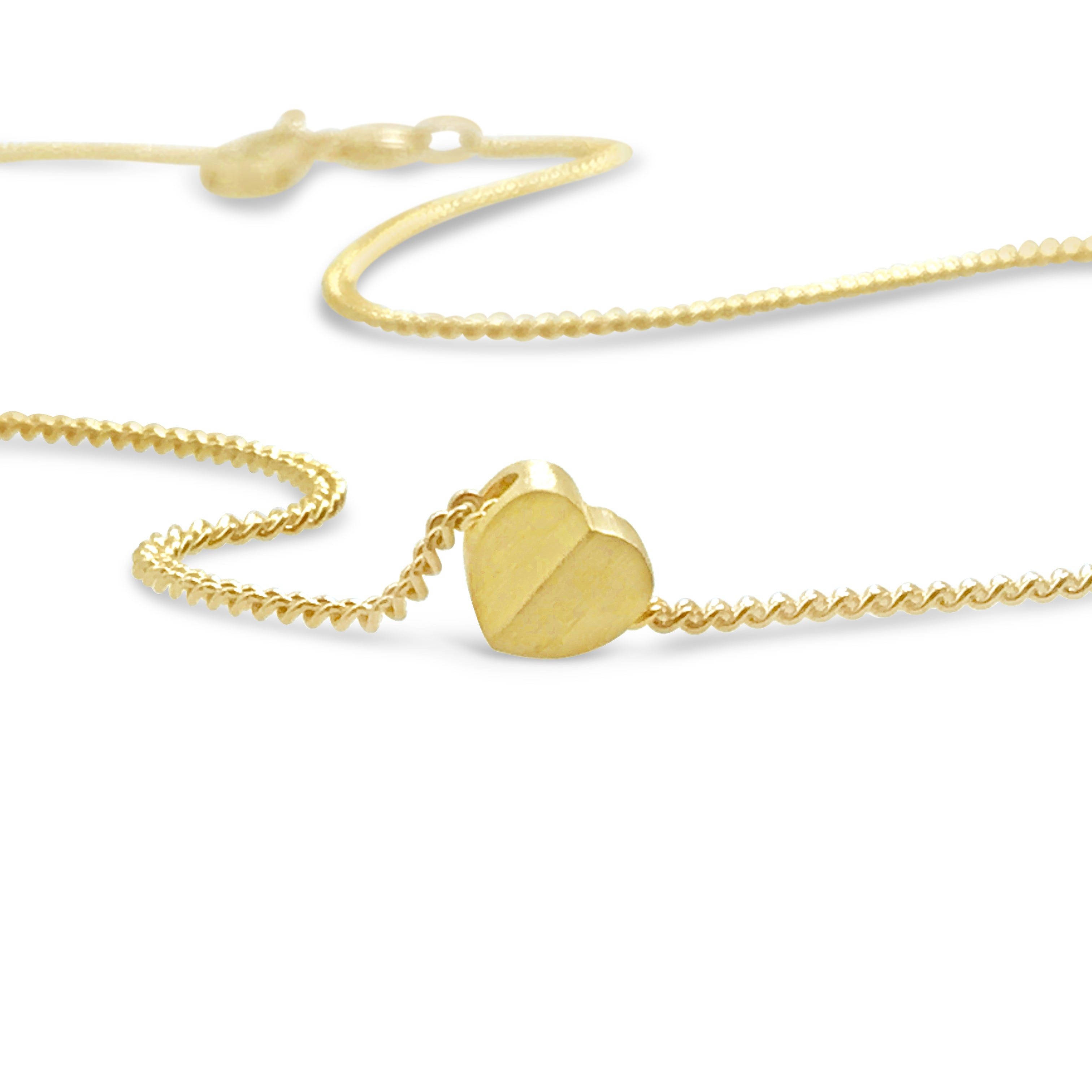 18 gold slide heart charm on small thin micro curb chain necklace