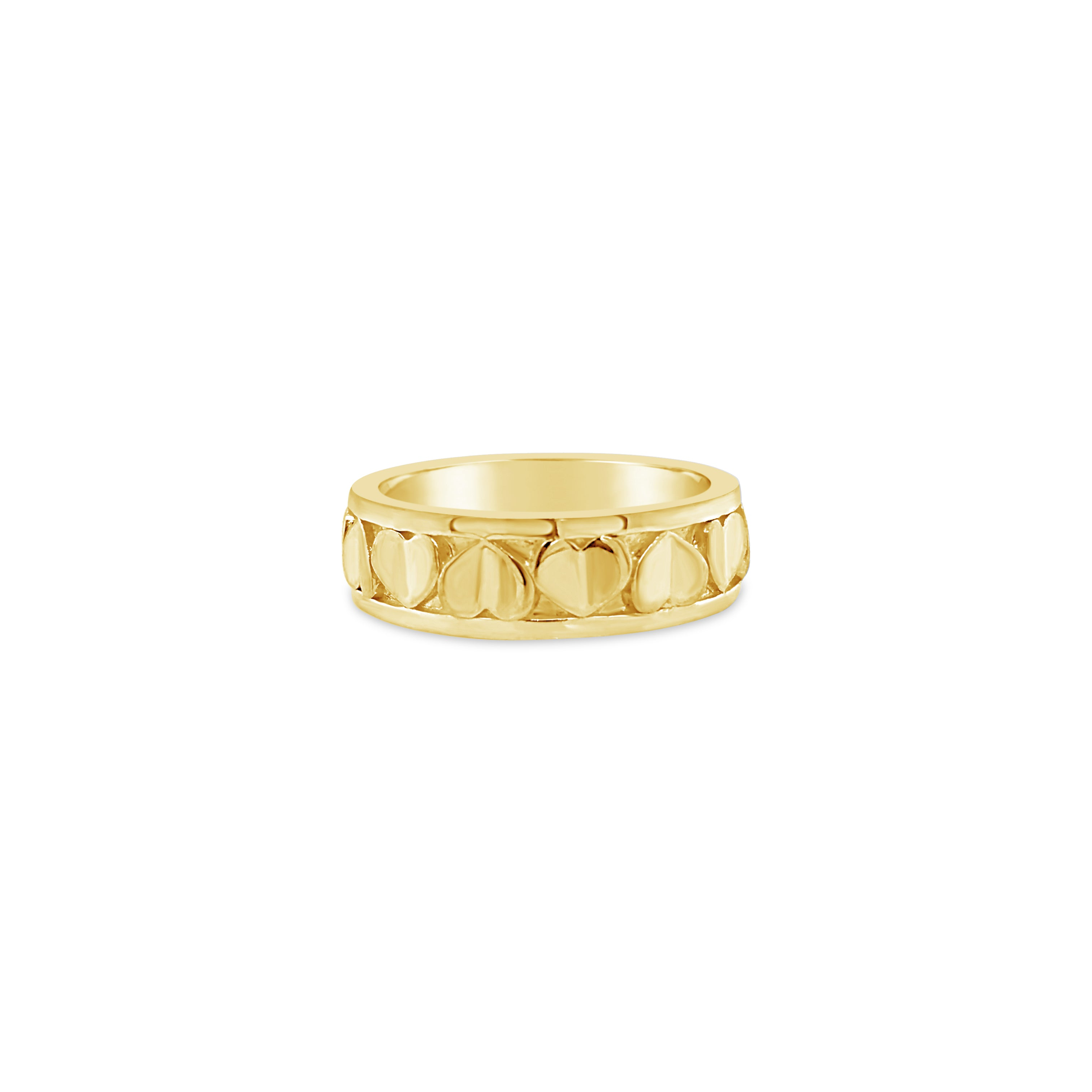 18k gold narrow love heart stack ring