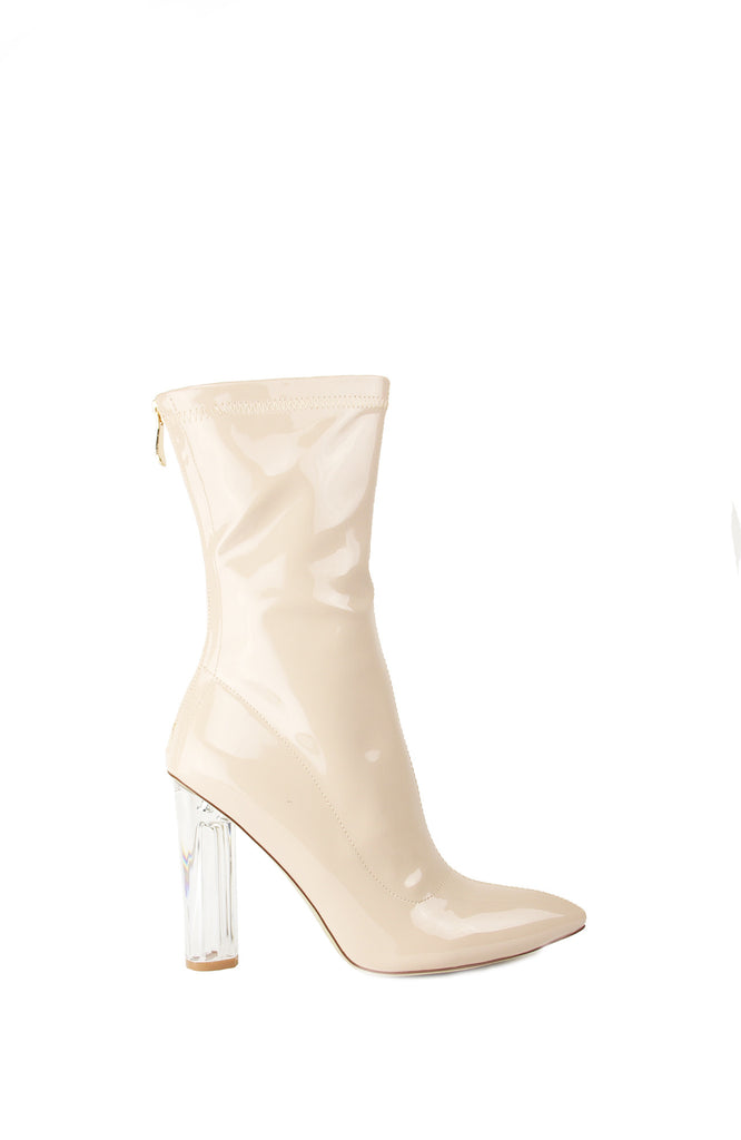 MILK - Two Two Shoes - nude perspex heel boots