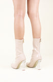 MILK - Two Two Shoes - nude perspex heel booties
