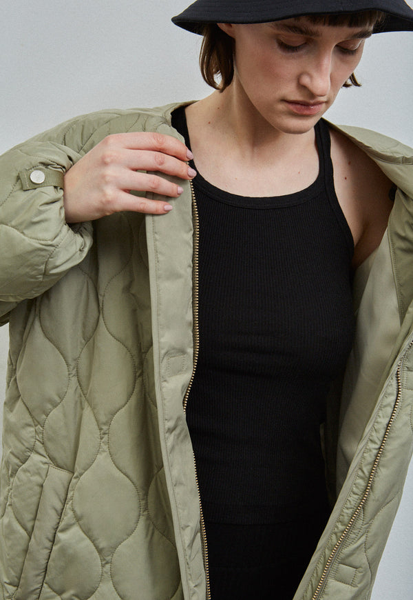 Akaroa Quilted Coat Pale Olive, jacket, Embassy of Bricks & Logs, - nois