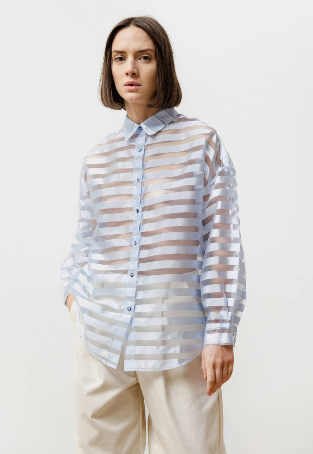 Manga Shirt See Through Stripes Baby Blue
