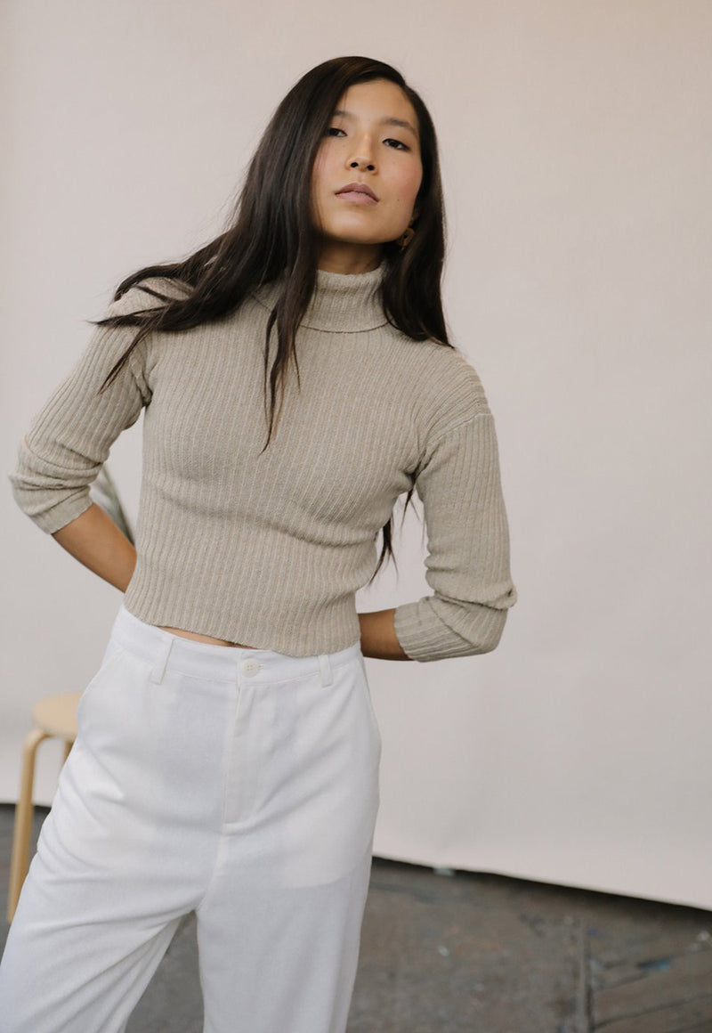 Mari Turtleneck Top Sand