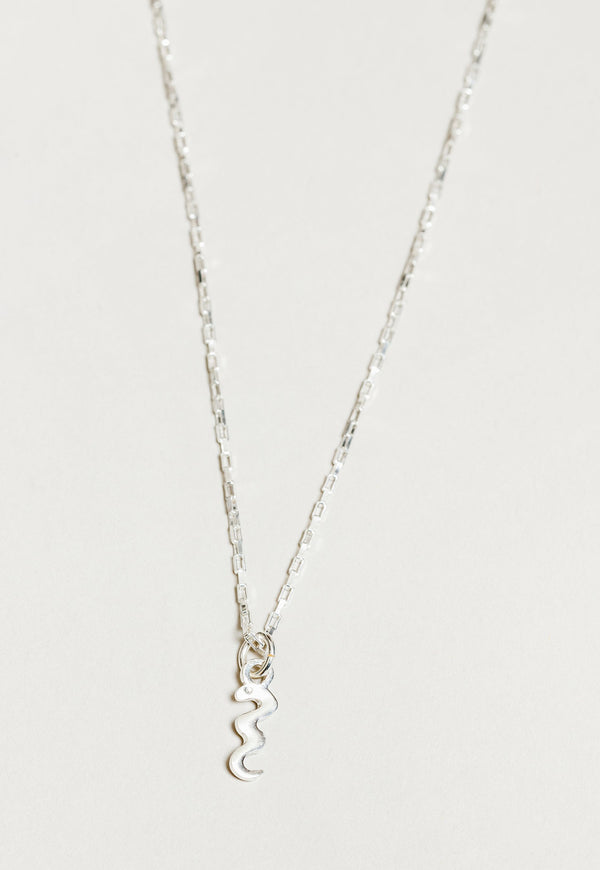 Snake Charm Necklace Silver
