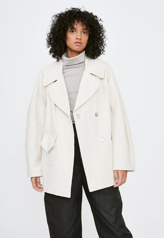 Elphin Faux Down White Long Coat