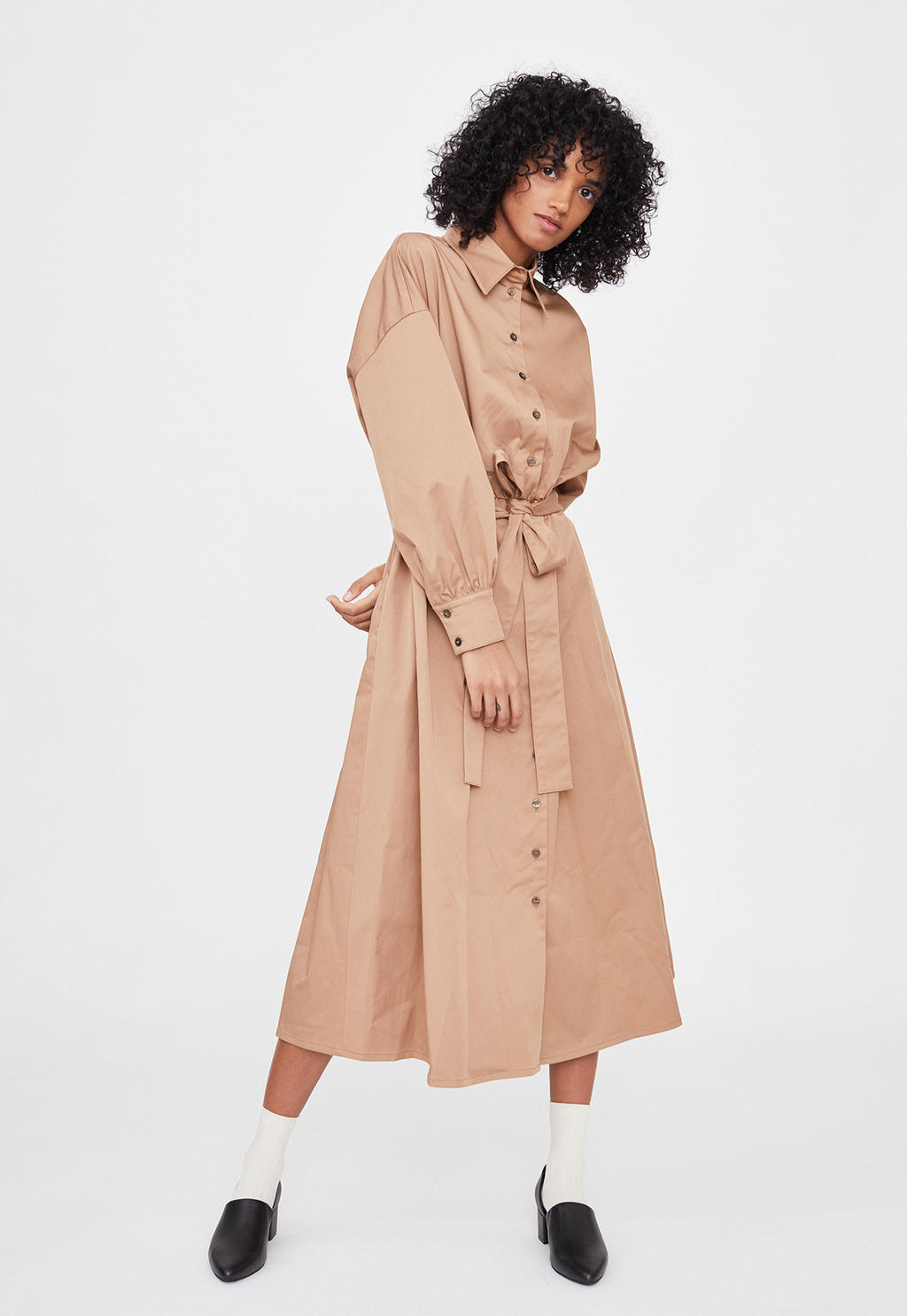 Classic Collar Tie Waist Dress Beige