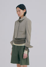 Knitted Crop Jacket Light Khaki