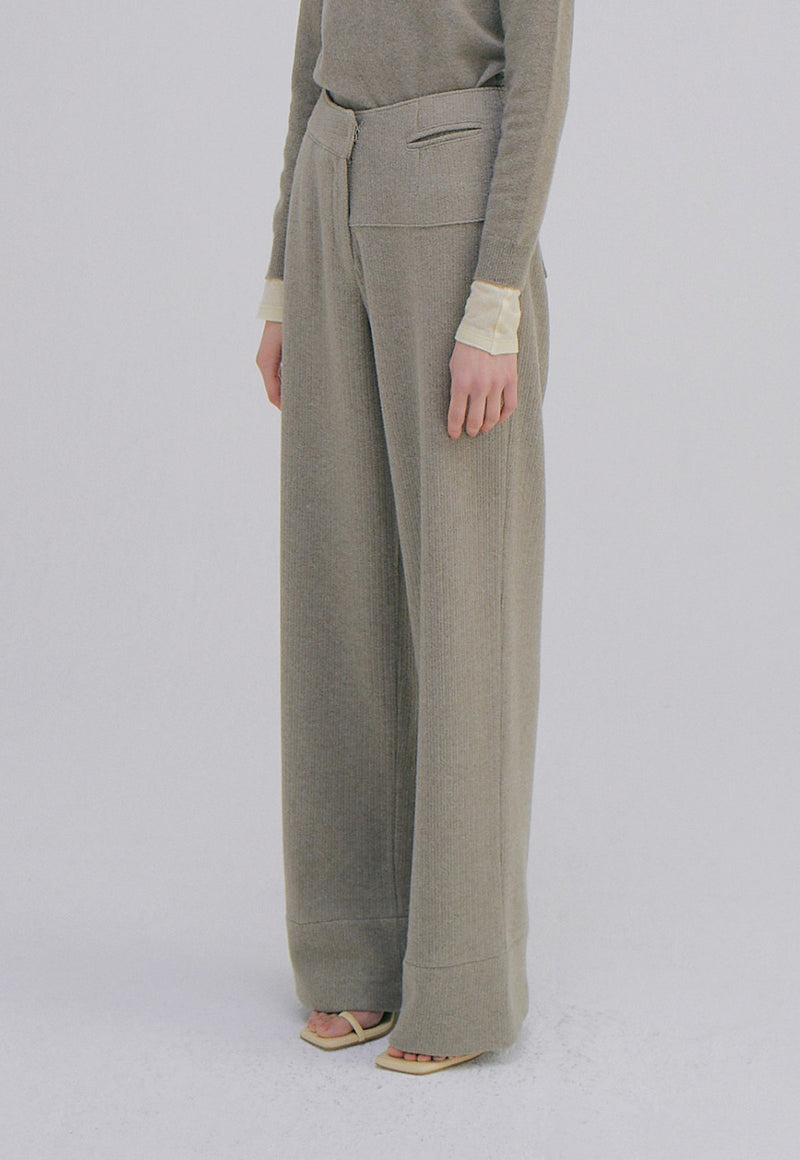 Unbalance Waist Trousers Light Khaki
