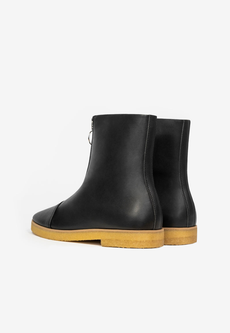 Crepe Zip Faux Nappa Boot