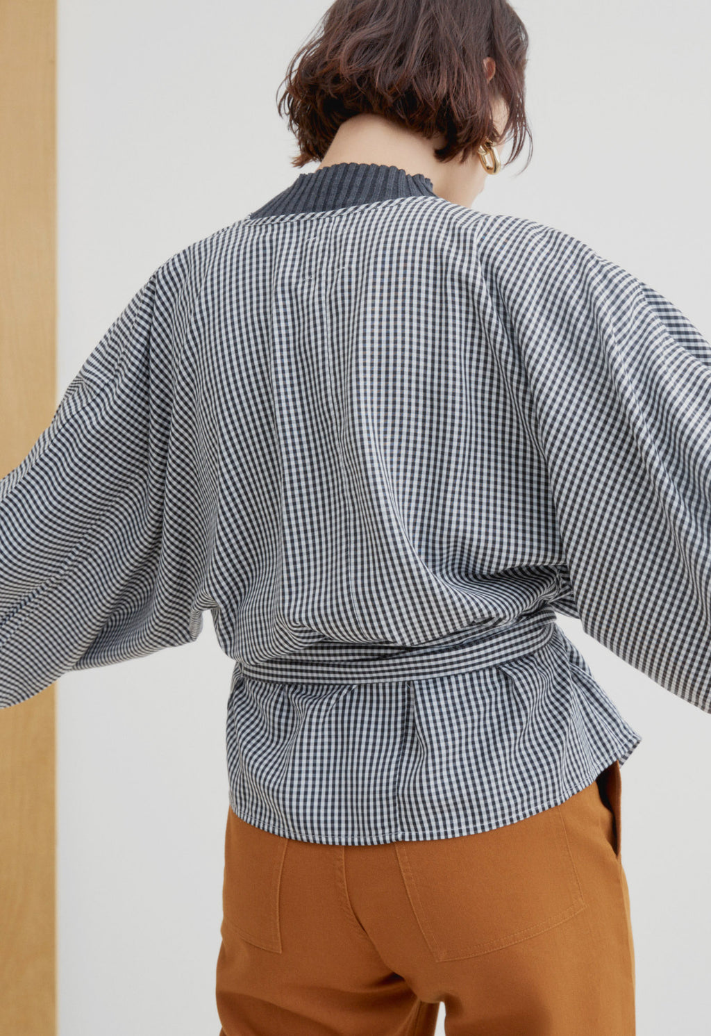 Moma Wrap Top Gingham, top, KOWTOW, - nois