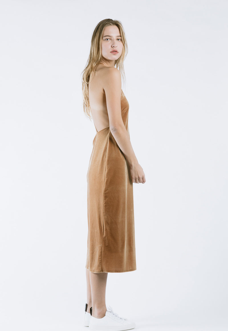Velvet Slip Dress in Camel, dress, Rocket x Lunch, - nois
