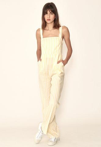 Simona Wrap Dress in Yellow Stripes