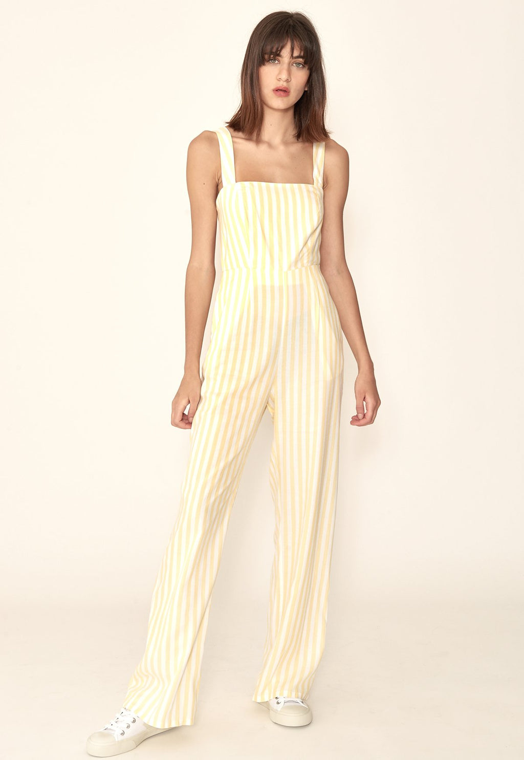 Vienne Jumpsuit in Yellow Stripes, bottom, capulet, - nois