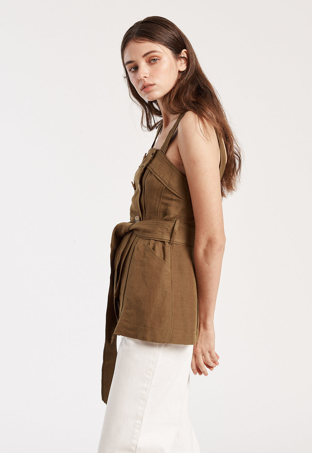 Button Strap Top in Taupe, top, c/meo, - nois