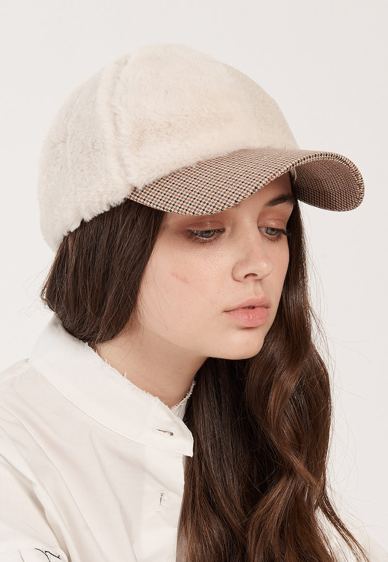 Fuax Fur Cap in Beige Check, hat, Rocket x Lunch, - nois