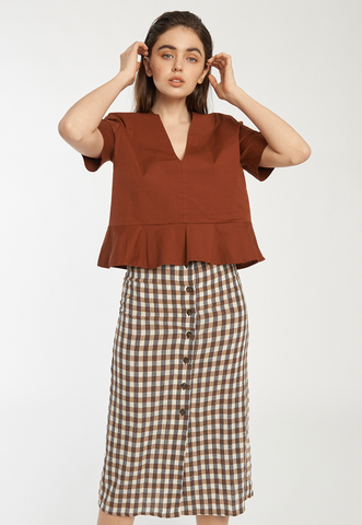 Margarita Top in Brown Gingham