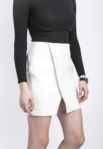 Belted High Waisted Skirt in White