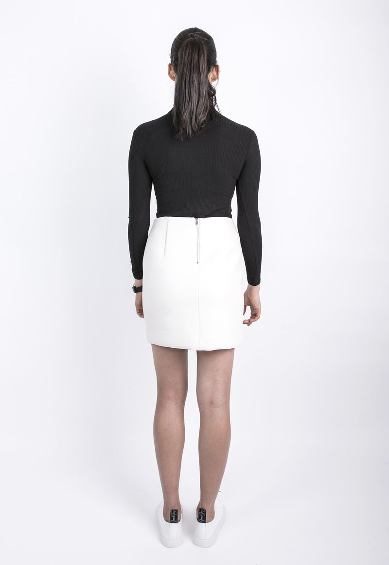Cream Faux Leather Skirt, bottom, Lookast, - nois
