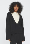 Cotton V-neck Pullover Black
