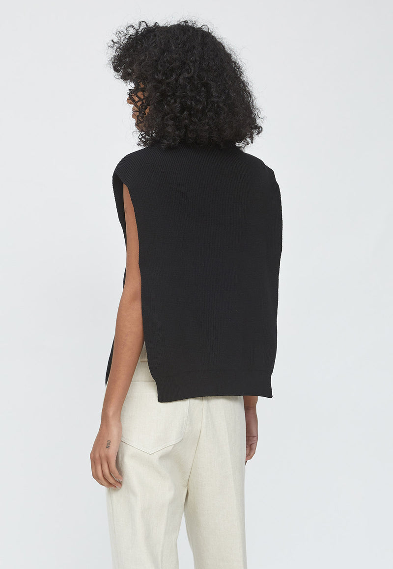 Cotton Mockneck Vest Black