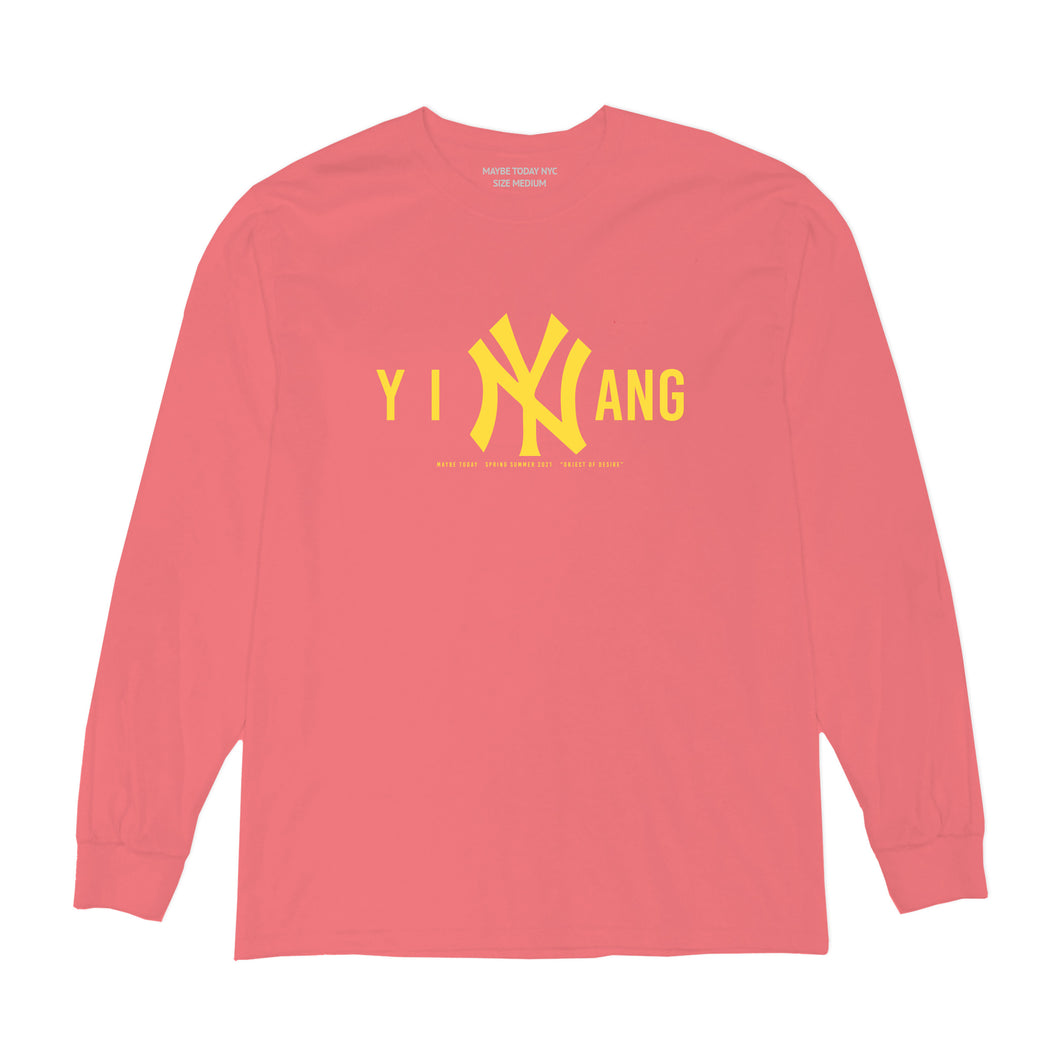 Yellow Logo L/S Tee in Salmon