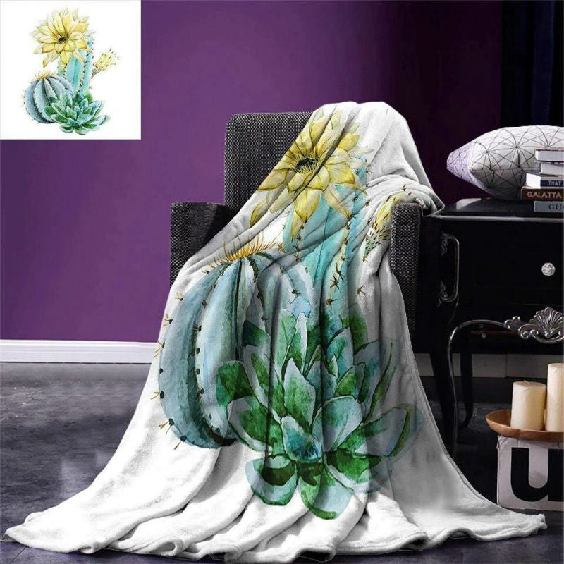 Soft Warm Colorful Cactus Print Blankets
