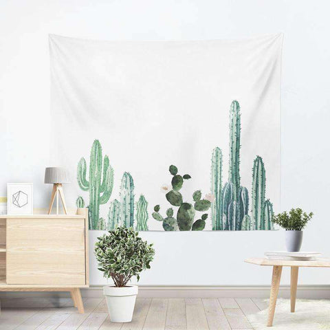 Image of cactus tapestry succulent wall hanging cactus wall decor