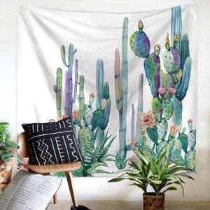 cactus tapestry succulent wall hanging