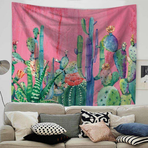 Image of Cactus Decor cactus tapestry succulent wall hanging