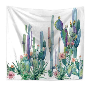 Light Colorful Cactus Print Tapestry