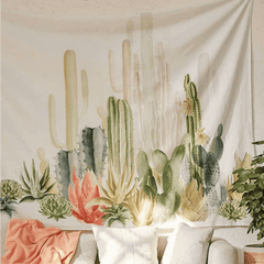succulent cactus wall tapestry