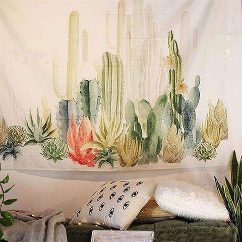 Decorative Cotton Succulent Wall Tapestry