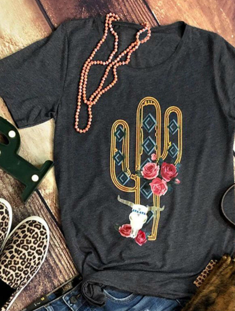 Cactus Lovers Roses and Steer Tee-Shirt