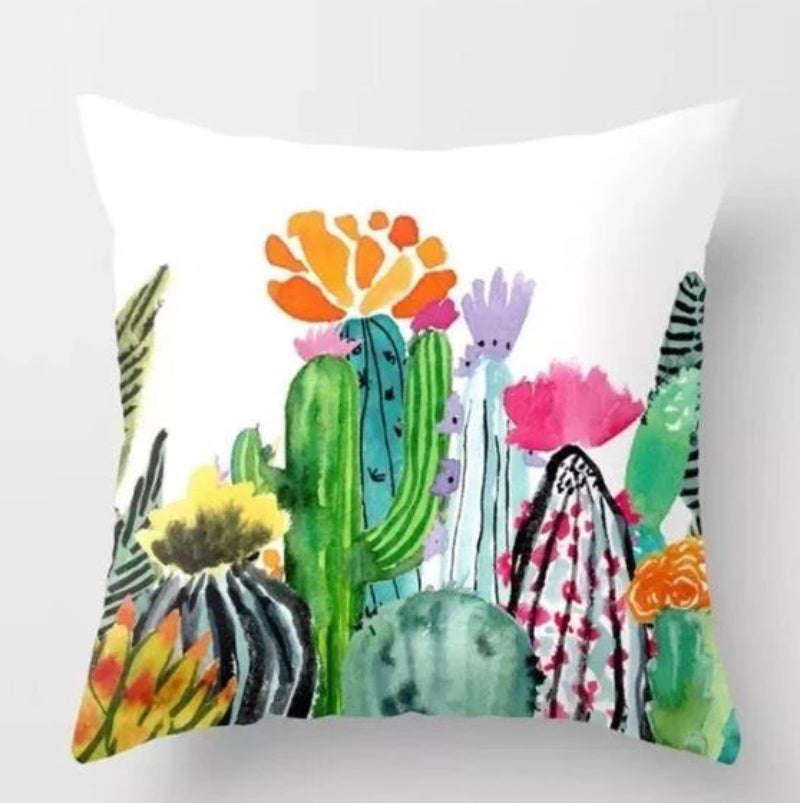 Colorful Cactus Pillow Cover