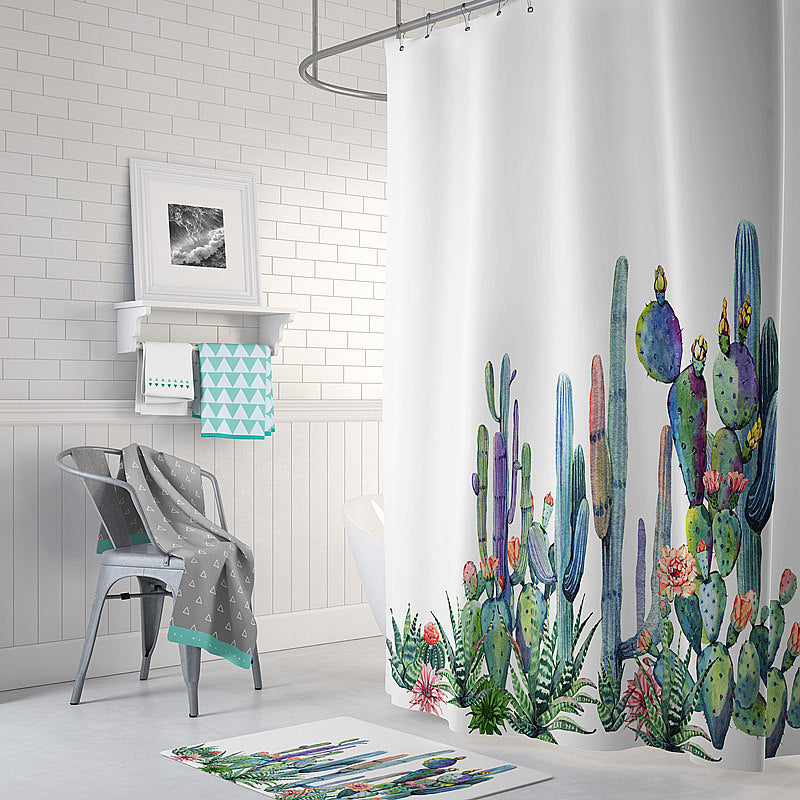 cactus shower curtain cactus bathroom decor