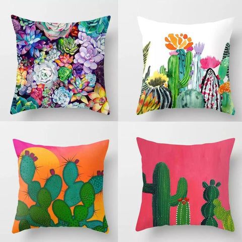 Image of Colorful Succulent & Cactus Pillow Covers