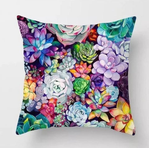Image of Colorful Succulent Pillow Cover